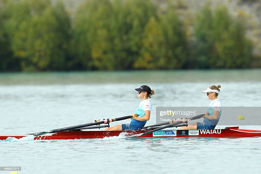 Rachel Kennedy and lisa Owen of Southern RPC compete in the Womans open double sculls final during the South Island Club Championships at Lake...