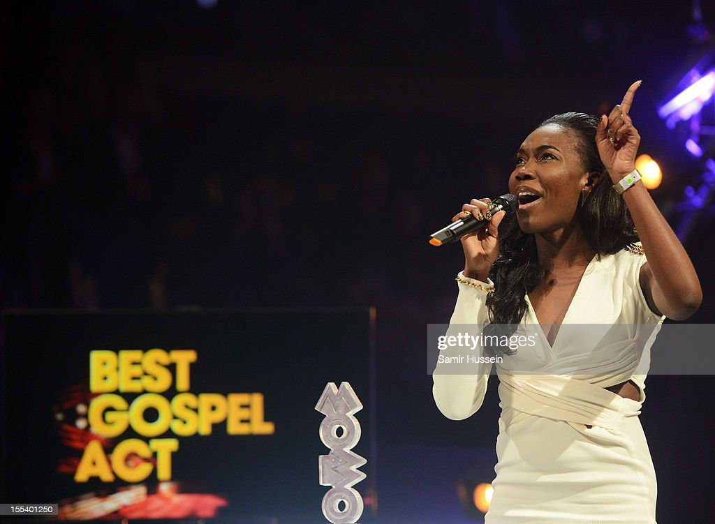 Rachel Kerr accepts the Best Gospel Act award at the 2012 MOBO awards at Echo Arena on November 3, 2012 in Liverpool, England.