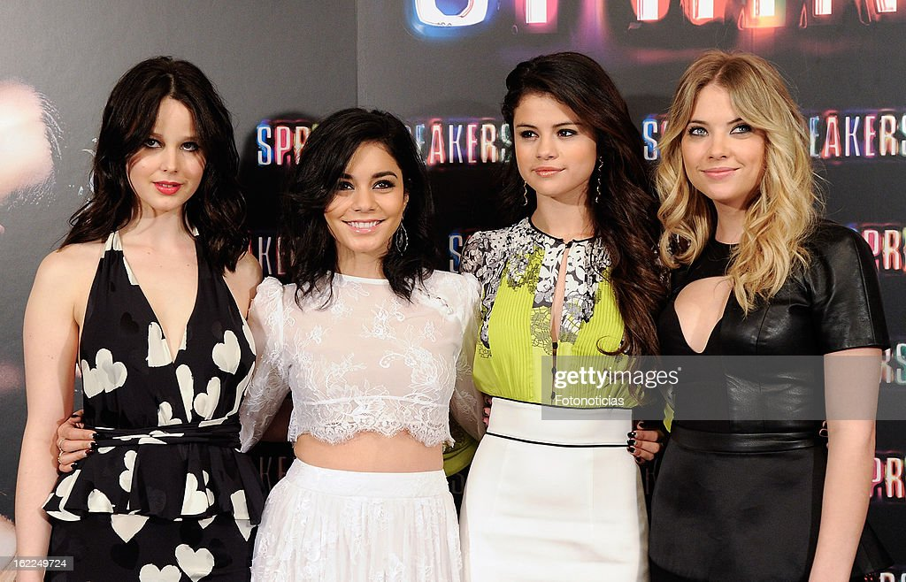 Rachel Korine, Vanessa Hudgens, Selena Gomez and Ashley Benson attend a photocall for Spring Breakers at the Villamagna Hotel on February 21, 2013 in Madrid, Spain.