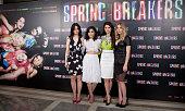 Rachel Korine Vanessa Hudgens Selena Gomez and Ashley Benson attend 'Springbreakers' Photocall at Villamagna Hotel on February 21 2013 in Madrid Spain