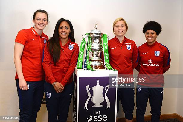 Rachel Laws of Sunderland Alex Scott of Arsenal Gilly Flaherty of Chelsea and Demi Stokes of Manchester City semiFinalists of the SSE Women's FA Cup...