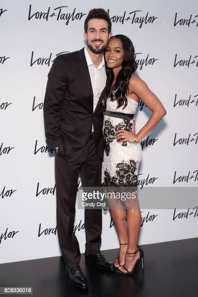 Rachel Lindsay and fiancé Bryan Abasolo visit the Lord Taylor NYC flagship store to promote new price matching program on August 9 2017 in New York...