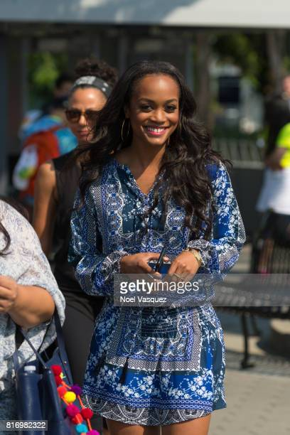 Rachel Lindsay visits 'Extra' at Universal Studios Hollywood on July 17 2017 in Universal City California