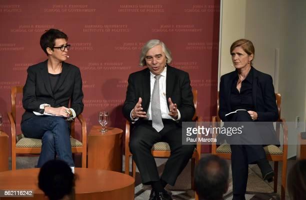 Rachel Maddow Ernest Moniz and Samantha Power speak at the Harvard University John F Kennedy Jr Forum in a program titled 'Perspectives on National...