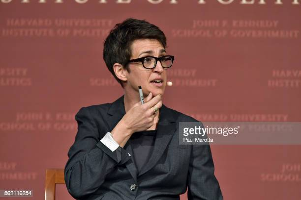 Rachel Maddow speaks at the Harvard University John F Kennedy Jr Forum in a program titled 'Perspectives on National Security' moderated by Rachel...