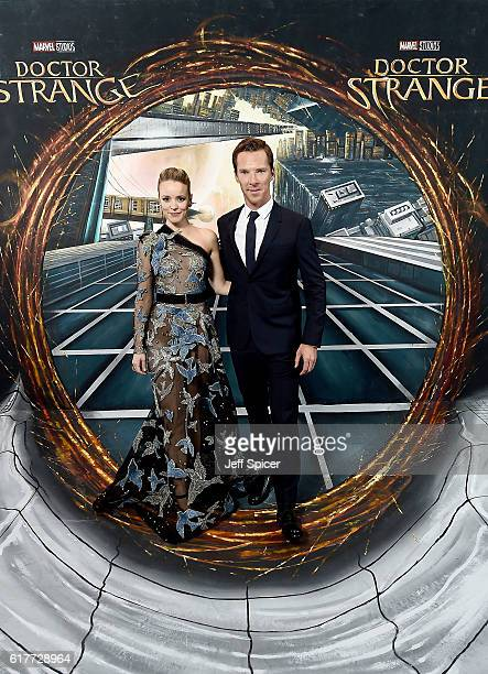 Rachel McAdams and Benedict Cumberbatch in front of the Doctor Strange inspired 3D Art at a fan screening to celebrate the release of Marvel Studio's...