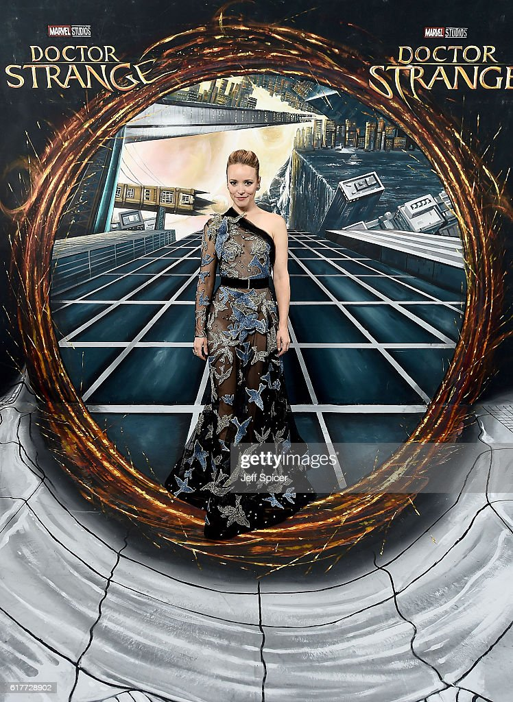 Rachel McAdams in front of the Doctor Strange inspired 3D Art at a fan screening, to celebrate the release of Marvel Studio's Doctor Strange at the Odeon Leicester Square, on October 24, 2016 in London, United Kingdom.