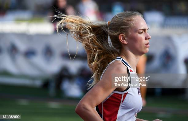 Rachel McArthur of Patriot High runs the anchor leg of the Distance Medley Championship during the 123rd running of the Penn Relays in Philadelphia...