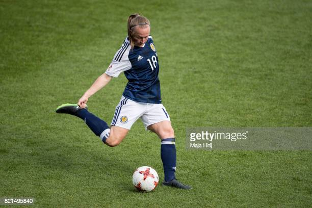 Rachel McLauchlan of Scotland controls the ball the UEFA Women's Euro 2017 Group D match between Scotland v Portugal at Sparta Stadion on July 23...
