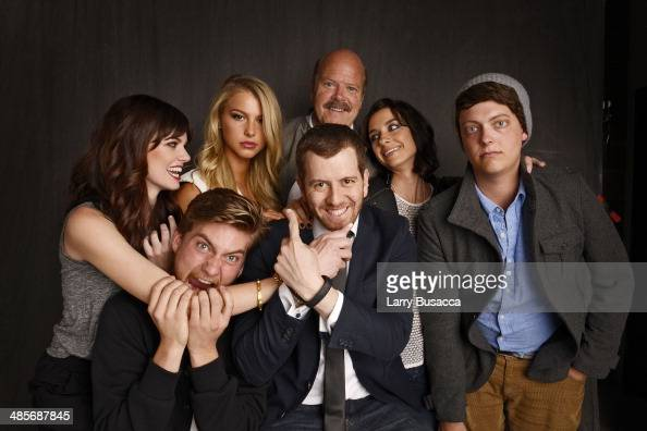 Rachel Melvin Jake Weary Lexi Atkins director Jordan Rubin actors Rex Linn Cortney Palm and Peter Gilroy from 'Zombeavers' pose for the 2014 Tribeca...