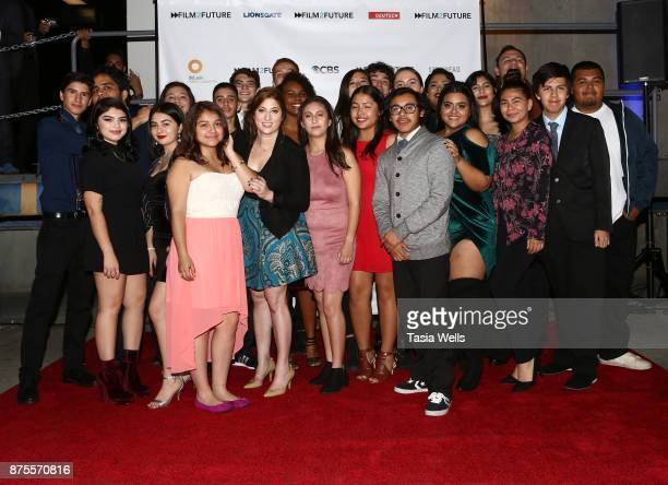 Rachel Miller and Film2Future students at the Film2Future Year 2 Awards Ceremony on November 16 2017 in Los Angeles California