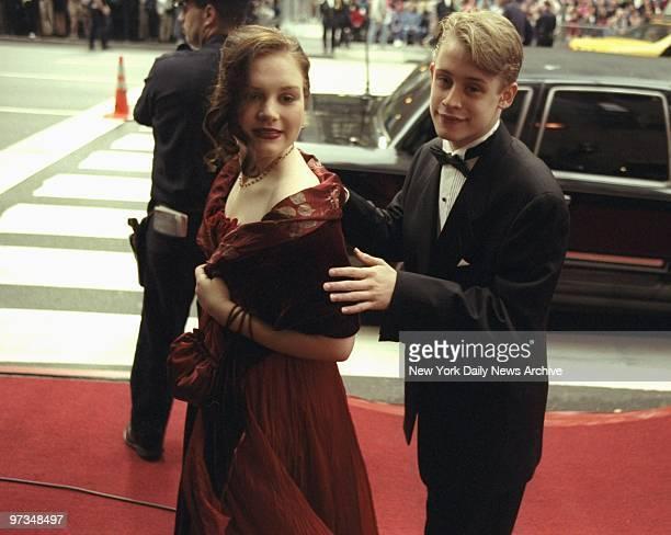 Rachel Miner and Macaulay Culkin arriving for the Tony Awards at Radio City Music Hall