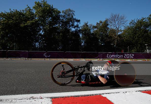 Rachel Morris of Great Britain rides during the Women's Individual H 13 Road Race on day 9 of the London 2012 Paralympic Games at Brands Hatch on...