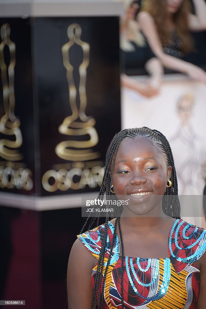Rachel Mwanza star of the Best Foreign Language Film nominee War Witch arrives on the red carpet for the 85th Annual Academy Awards on February 24...