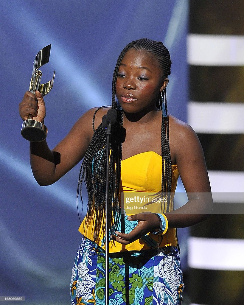 Rachel Mwanza, winner of the best performance by an actress in a leading role, speaks onstage at the 2013 Canadian Screen Awards at Sony Centre for the Performing Arts on March 3, 2013 in Toronto, Canada.