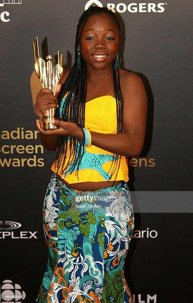 <a gi-track='captionPersonalityLinkClicked' href=/galleries/search?phrase=Rachel+Mwanza&family=editorial&specificpeople=8913984 ng-click='$event.stopPropagation()'>Rachel Mwanza</a>, winner of the best performance by an actress in a leading role, attends the 2013 Canadian Screen Awards at Sony Centre for the Performing Arts on March 3, 2013 in Toronto, Canada.