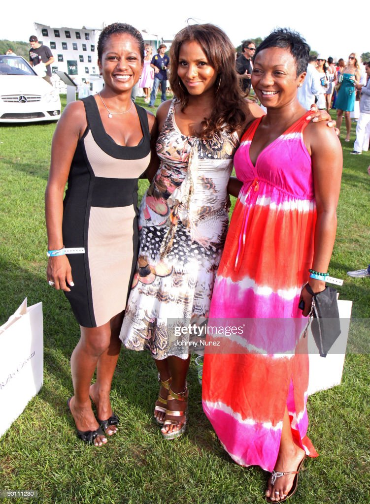 Rachel Noerdlinger, Marvet Britto and Lashan Browning attend the closing day of the Mercedes-Benz Polo Challenge at Blue Star Jets Field at Two Trees Farm on August 22, 2009 in Bridgehampton, New York.
