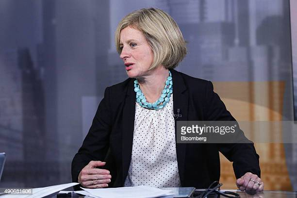 Rachel Notley Alberta's premier right speaks during a Bloomberg Television interview in New York US on Wednesday Sept 30 2015 Kinder Morgan Inc may...