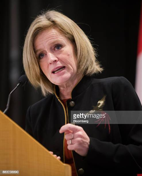 Rachel Notley Alberta's premier speaks during the Greater Vancouver Board of Trade's annual Energy Forum in Vancouver British Columbia Canada on...