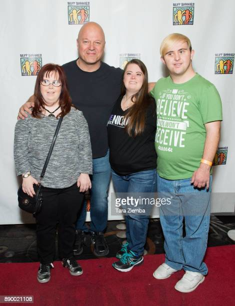 Rachel Osterbach Michael Chiklis Caley Versfelt and Sean McElwee attend Bowling For Buddies at PINZ Bowling Entertainment Center on December 10 2017...