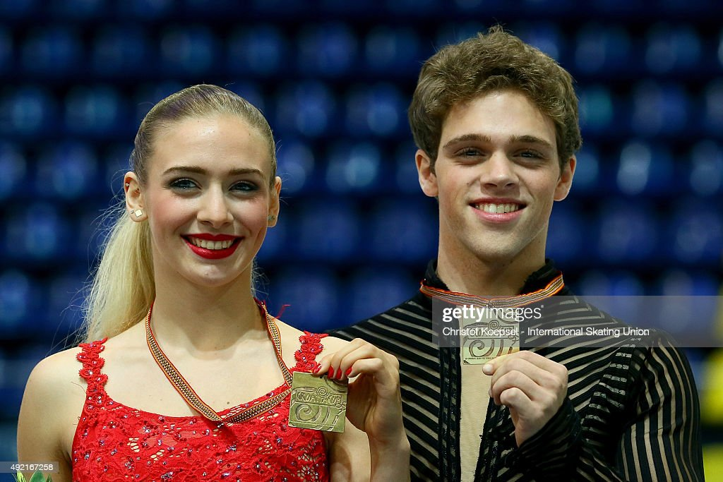 Rachel Parsons and Michael Parsons of United States present their gold medals during the medal ceremony of the junior ice short dance of the ISU...