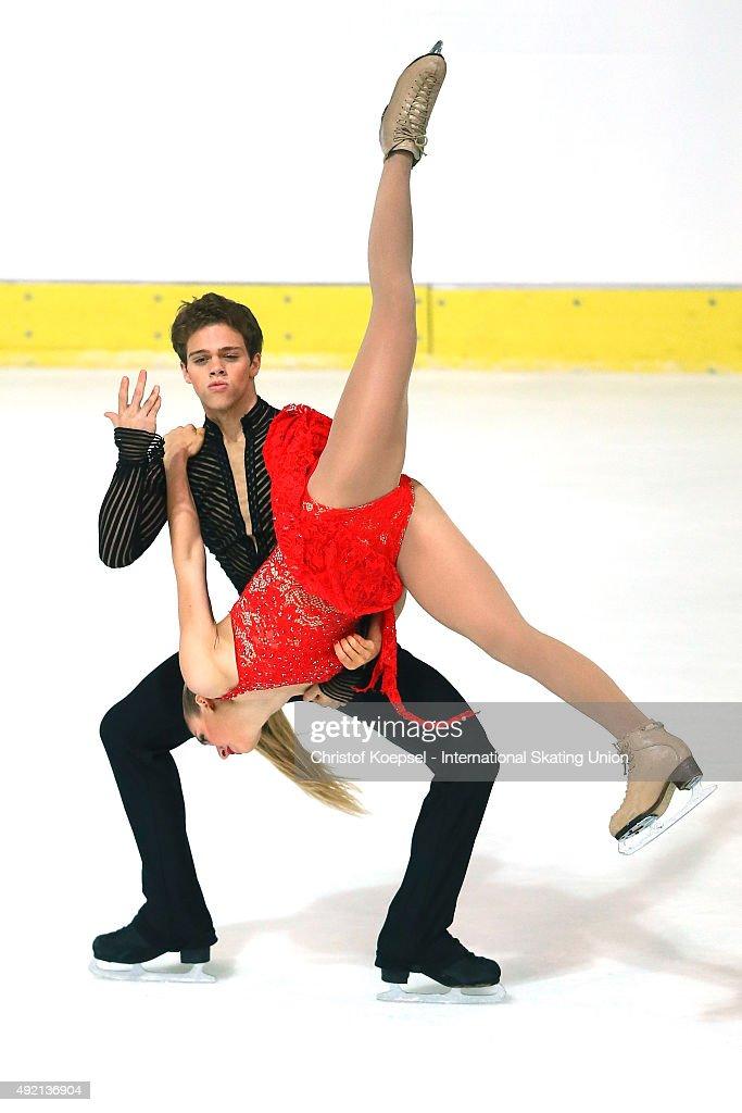 Rachel Parsons and Michael Parsons of United States skate during the junior ice short dance of the ISU Junior Grand Prix at Dom Sportova on October...