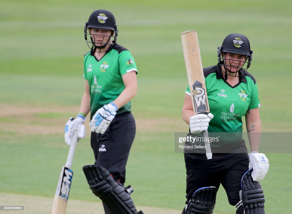 Rachel Priest and Heather Knight of Western Storm during the Kia Super League between Yorkshire Diamonds v Western Storm at York on August 20, 2017 in York, England.