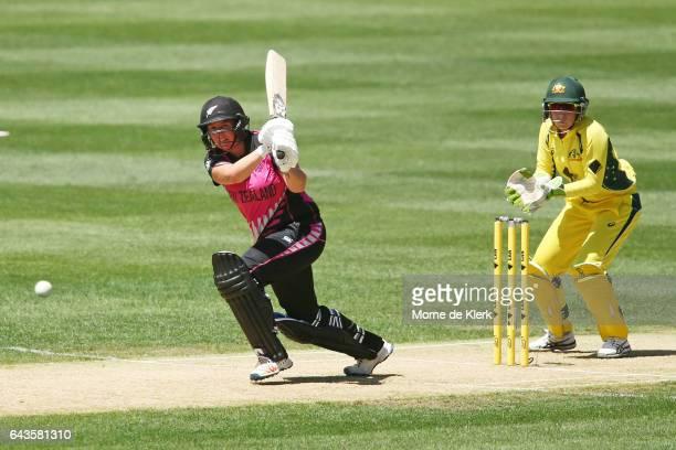 Rachel Priest of New Zealand bats in front of Alyssa Healy of Australia during the Women's Twenty20 International match between the Australia...