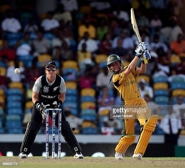 Rachel Priest of New Zealand looks on as Sarah Elliott hits out during the ICC Womens World Twenty20 Final between Australia and New Zealand played...