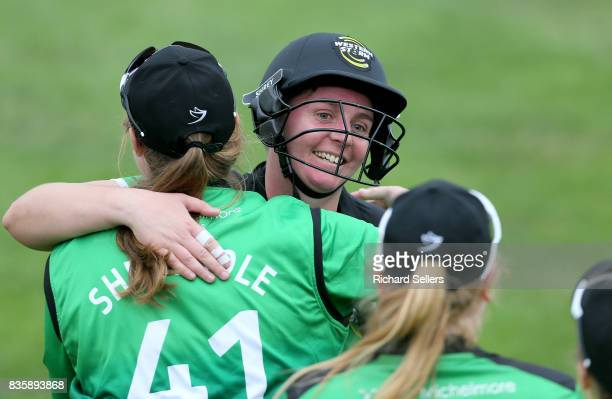 Rachel Priest of Western Storm and Anya Shrubsole celebrate after the Kia Super League between Yorkshire Diamonds v Western Storm at York on August...