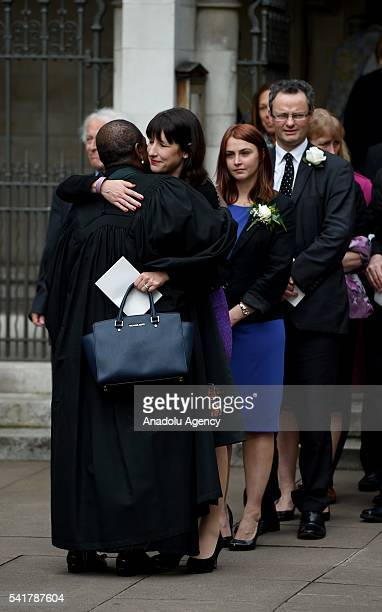 Rachel Reeves leaves following the remembrance service for Jo Cox at St Margaret's church in Westminster Abbey on June 20 2016 in London England