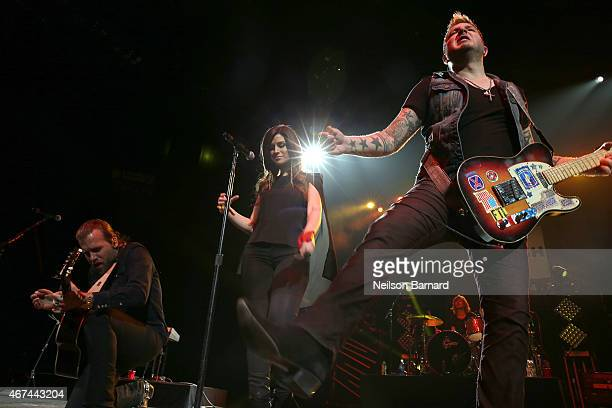 Rachel Reinert Tom Gossin and Mike Gossin of the band Gloriana perform on stage during the 2015 NASH Bash presented by NASH FM 947 as part of Country...
