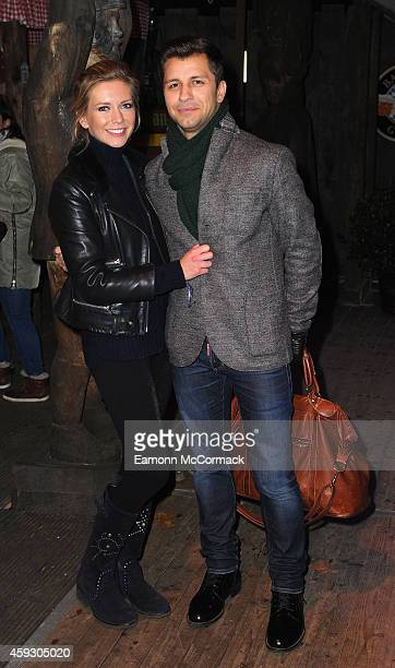 Rachel Riley and Pasha Kovalev attend the Winter Wonderland VIP opening at Hyde Park on November 20 2014 in London England