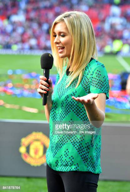 Rachel Riley on the pitch after the final whistle during the legends match at Old Trafford Manchester