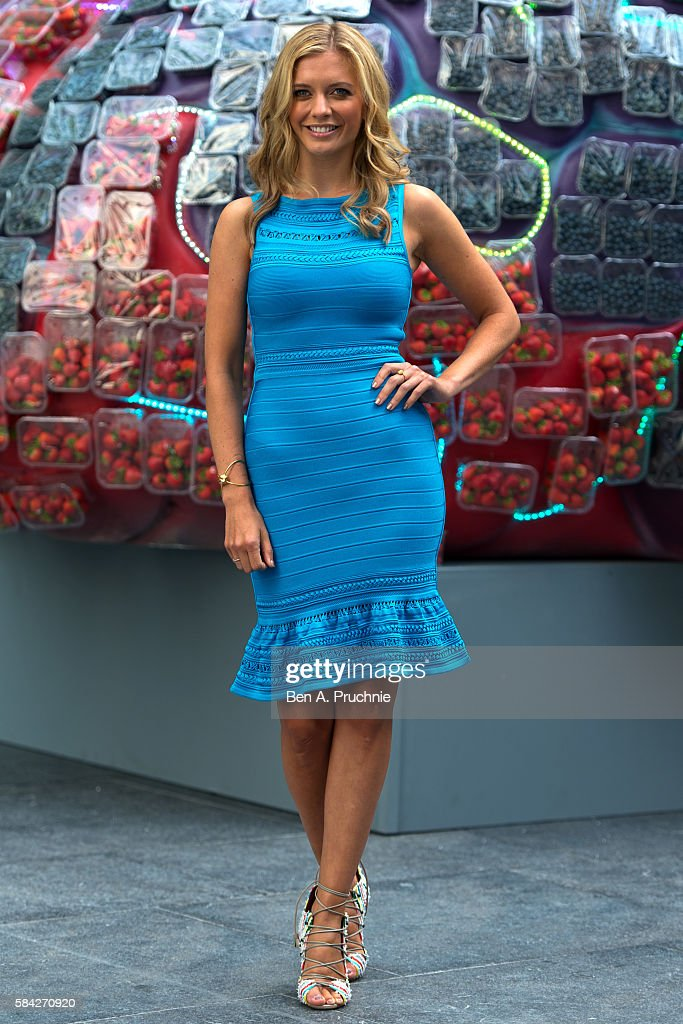 Rachel Riley poses next to a giant brain made of fresh British berries to promote the fact that berries could help to improve memory and...