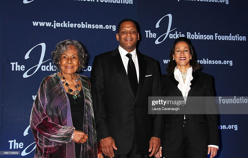 Rachel Robinson Gregg Gonsalves and Della Britton Baeza attend the Jackie Robinson Foundation Awards Dinner at Waldorf Astoria Hotel on March 9 2015...