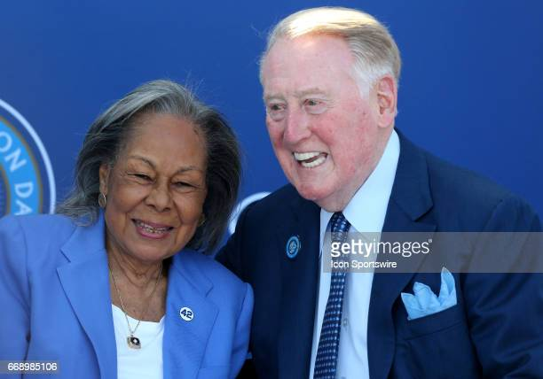 Rachel Robinson poses with announcer Vin Scully during the Jackie Robinson statue unveiling before the game against the Arizona Diamondbacks on April...