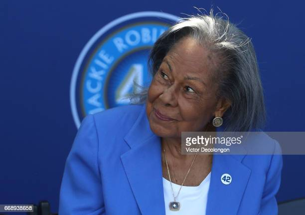 Rachel Robinson sits onstage during the Los Angeles Dodgers Jackie Robinson statue unveiling at Dodger Stadium on April 15 2017 in Los Angeles...