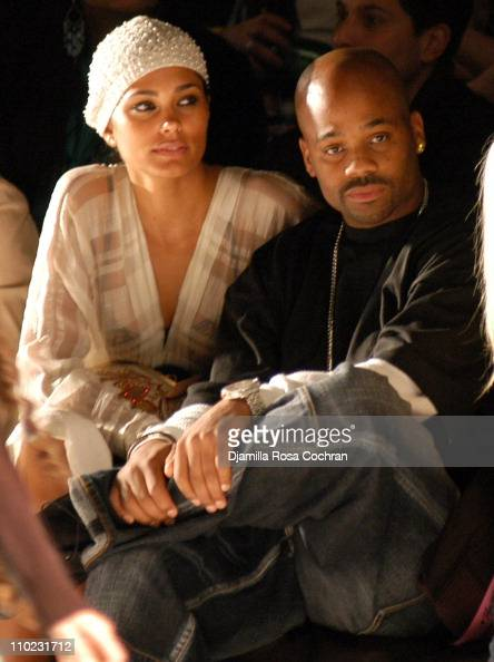 Rachel Roy and Damon Dash during Olympus Fashion Week Fall 2005 Heatherette Front Row at The Tent Bryant Park in New York City New York United States