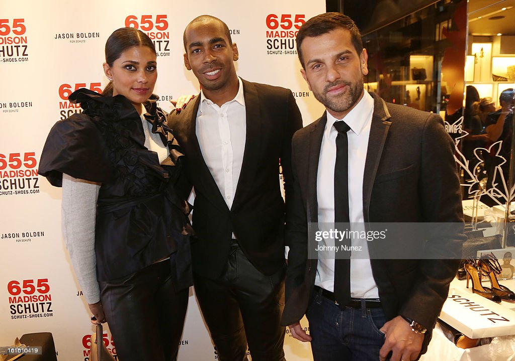 Rachel Roy, Jason Bolden and Alexandre Birman attend the Jason Bolden For SCHUTZ Launch at Schutz on February 12, 2013 in New York City.