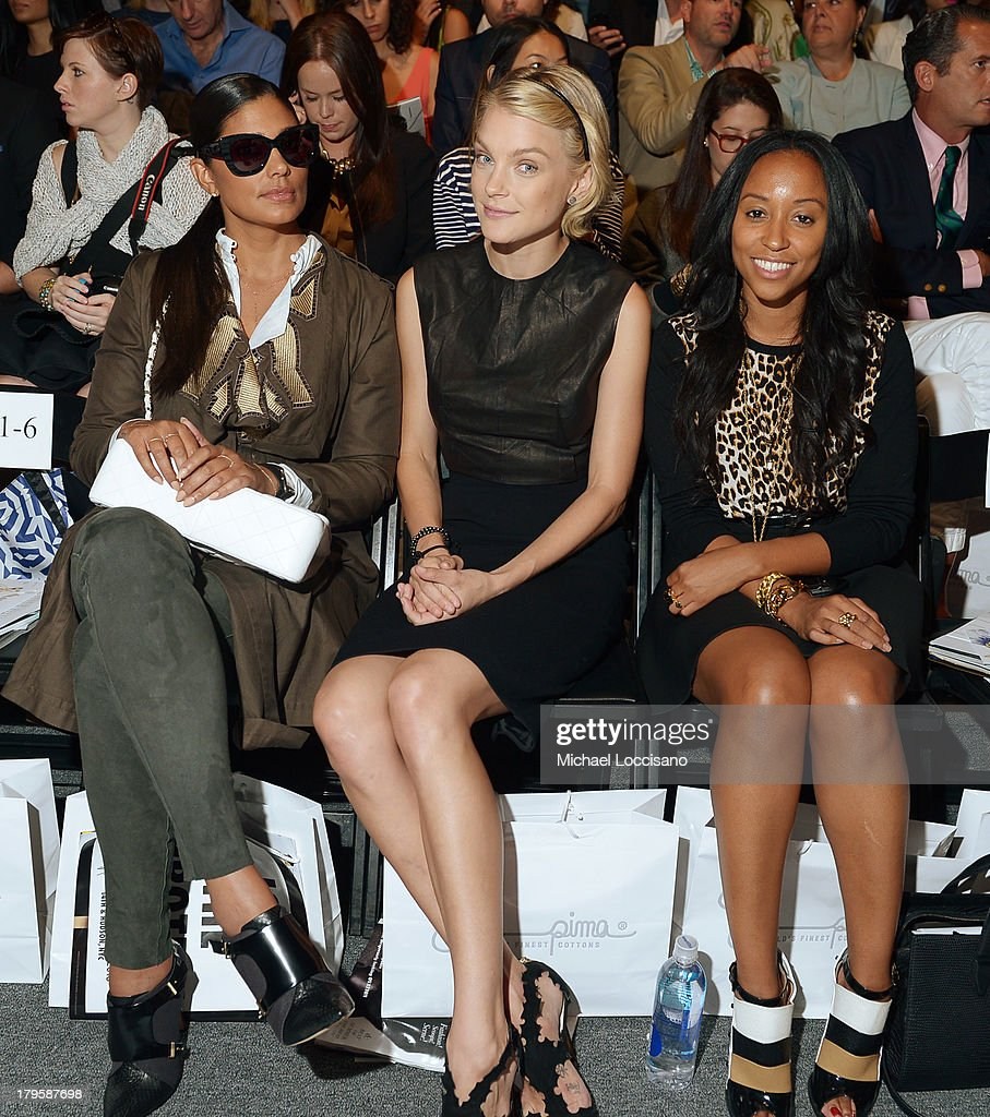 Rachel Roy, <a gi-track='captionPersonalityLinkClicked' href=/galleries/search?phrase=Jessica+Stam&family=editorial&specificpeople=657570 ng-click='$event.stopPropagation()'>Jessica Stam</a> and Shiona Turini attend the Supima Spring 2014 fashion show during Mercedes-Benz Fashion Week at The Studio at Lincoln Center on September 5, 2013 in New York City.
