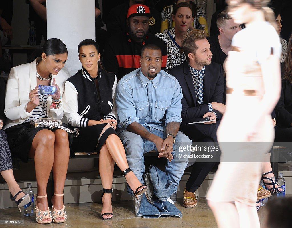 Rachel Roy, TV Personality Kim Kardashian, Rapper Kanye West and Derek Blasberg attend Louise Goldin Spring 2013 at Milk Studios on September 12, 2012 in New York City.