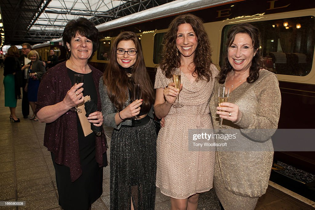 Rachel Shenton, and Gaynor Faye and Kay Mellor attends as The northern Belle makes a fundraising trip in aid of the 'When You Wish Upon a Star' charity on April 13, 2013 in Manchester, England.