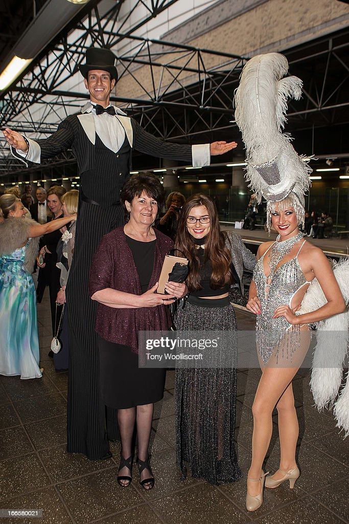 Rachel Shenton and mother attends as The northern Belle makes a fundraising trip in aid of the 'When You Wish Upon a Star' charity on April 13, 2013 in Manchester, England.