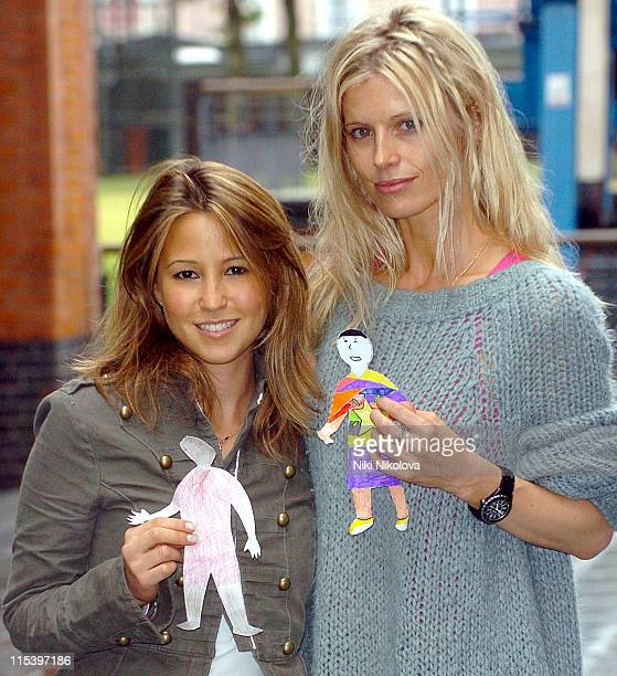 Rachel Stevens and Laura Bailey during Rachel Stevens Opens 'Send My Friend To School' Exhibition at Oxo Tower in London Great Britain
