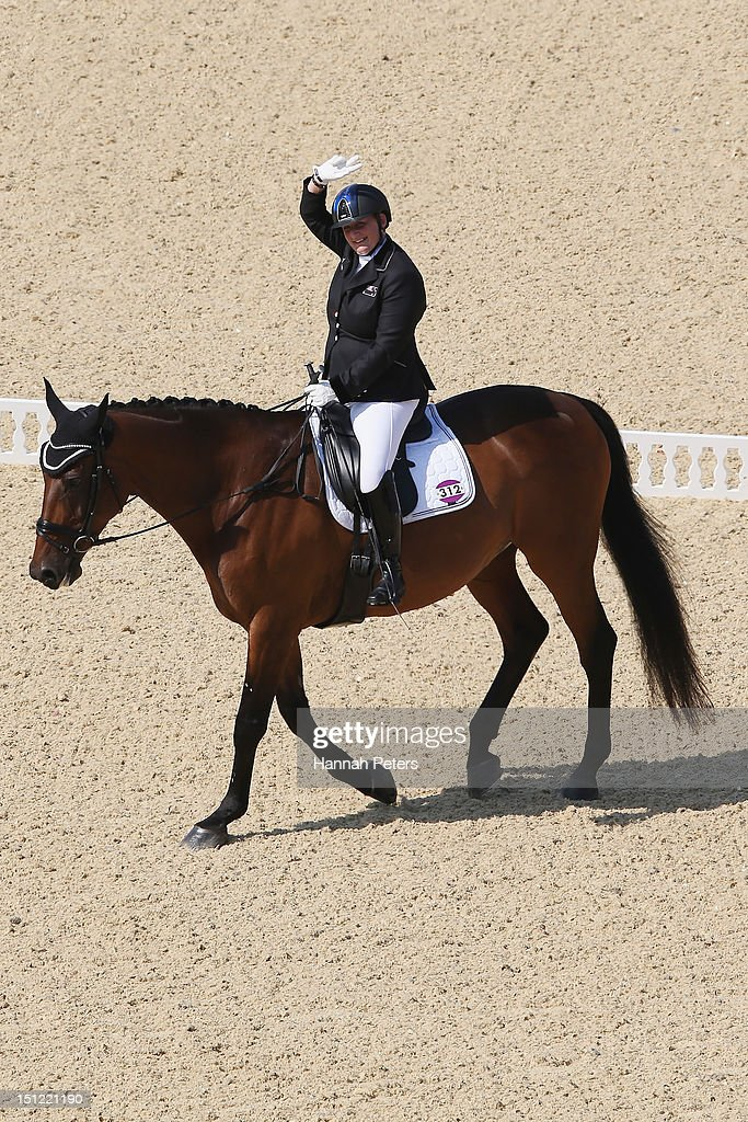 Rachel Stock of New Zealand rides Rimini Park Emmerich during the Equestrian Dressage Individual Freestyle Test - Grade III on day 6 of the London 2012 Paralympic Games at Greenwich Park on September 4, 2012 in London, England.