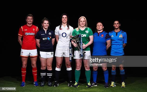 Rachel Taylor captain of Wales Women Lisa Martin of Scotland Women Sarah Hunter captain of England Women Niamh Briggs captain of Ireland Women Gaelle...