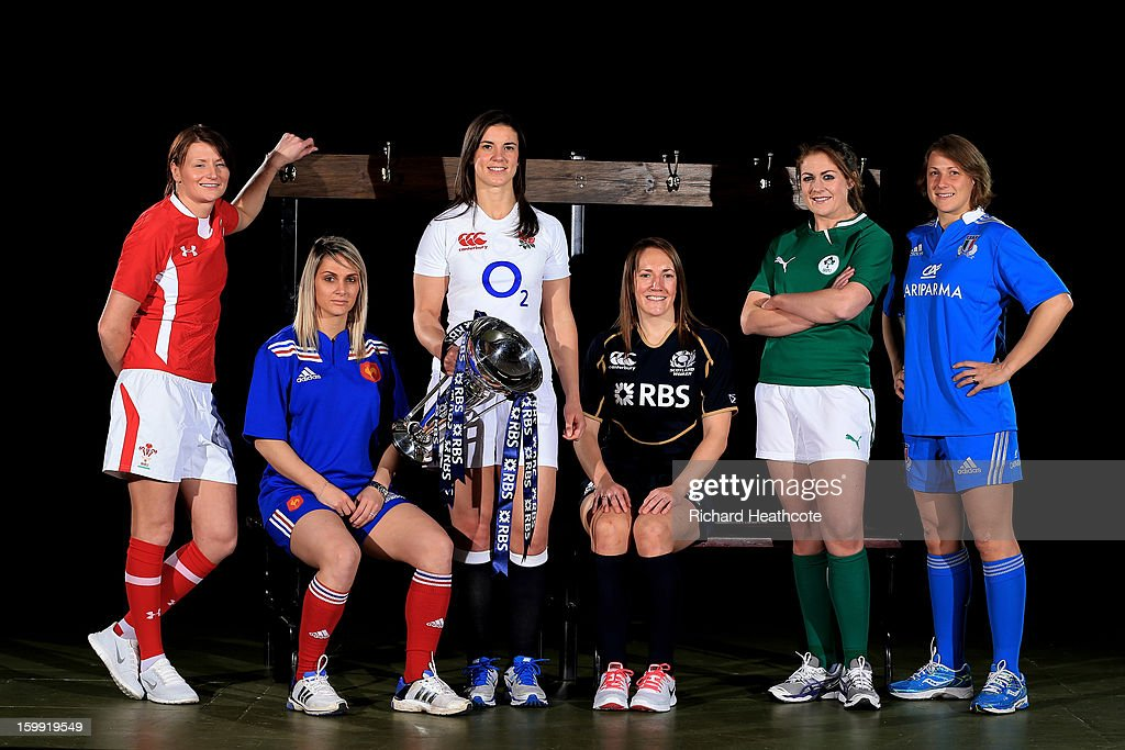 Rachel Taylor of Wales, Marie Alice Yahe of France, Sarah Hunter of England, Susie Brown of Scotland, Fiona Coughlan of Ireland and Silvia Gaudino of Italy pose with the Women's Six Nations trophy during the RBS Six Nations launch at The Hurlingham Club on January 23, 2013 in London, England.