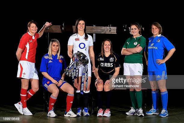 Rachel Taylor of Wales Marie Alice Yahe of France Sarah Hunter of England Susie Brown of Scotland Fiona Coughlan of Ireland and Silvia Gaudino of...