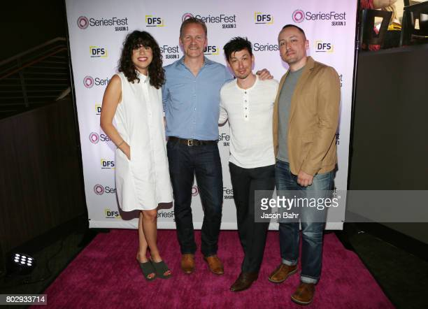 Rachel Traub Morgan Spurlock Jeremy Chilnick and Eric Enright arrive to the Warrior Poets panel discussion during SeriesFest Season 3 at Sie...